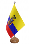 Ecuador Desk / Table Flag with wooden stand and base